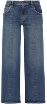 Current/Elliott The Wide-leg Crop Mid-rise Jeans - Dark denim