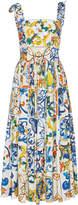 Dolce & Gabbana Maiolica Tie Strap Tank Midi Dress