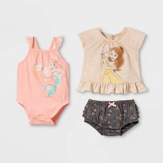 Disney Baby Girls' 3pk Princess Top and Bottom Set -