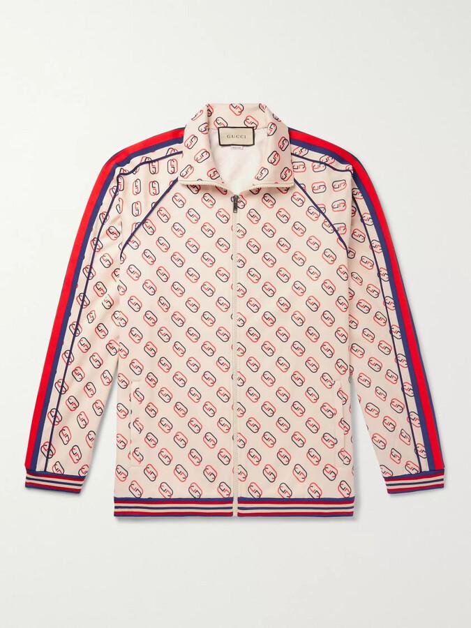 Gucci Striped Webbing-Trimmed Logo-Print Tech-Jersey Track Jacket