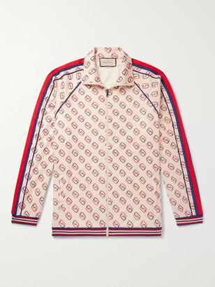 Gucci Striped Webbing-Trimmed Logo-Print Tech-Jersey Track Jacket - Men - Neutrals
