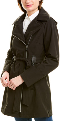 Via Spiga Asymmetric Zip Trench Coat