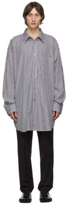 Maison Margiela Black and White Striped Oversized Classic Shirt