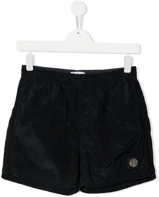 Stone Island Junior TEEN logo-patch running shorts