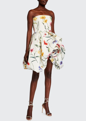 Oscar de la Renta Floral Strapless Rosette Bubble Hem Dress