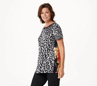 Susan Graver Printed Liquid Knit Tunic with Woven Back