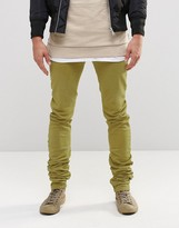 Asos Super Skinny Longline Stacker Jeans In Light Khaki