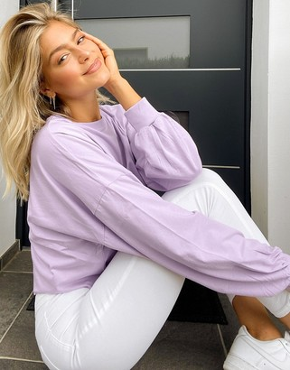 ASOS DESIGN super oversized cut off t-shirt with wide sleeve in lilac
