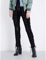 Unravel Ladies Innovative Laced-Detail Skinny Velvet Trousers