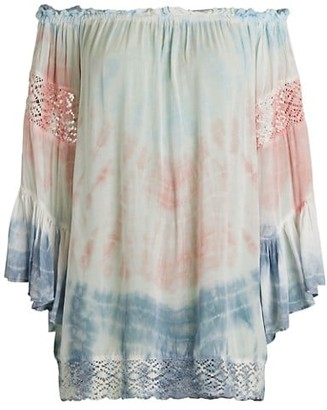 Surf.Gypsy Off-The-Shoulder Tie-Dye Coverup