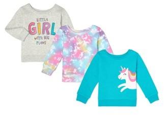 Garanimals Baby Girl Sweatshirts, 3-Pack