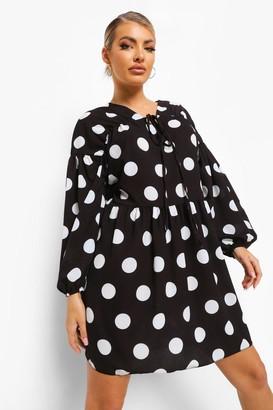 boohoo Polka Dot Long Sleeve Smock Dress