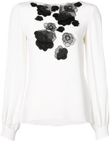Oscar de la Renta floral embroidered blouse