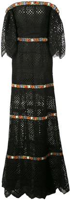 Carolina Herrera Bardot Lace Evening Dress