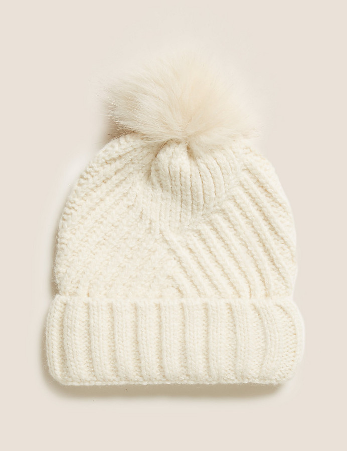 Knitted Faux Fur Bobble Beanie Hat