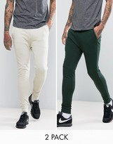 Asos Super Skinny Joggers 2 Pack Stone/green Save