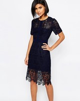 Whistles Ailsa Placement Lace Dress in Navy