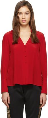 Fendi Red Silk Deep V-Neck Blouse