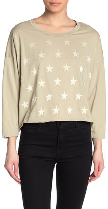 Vintage Havana Distressed Faded Star Boxy 3/4 Sleeve T-Shirt