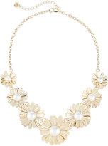 Lydell NYC Daisy Simulated Pearl Statement Necklace, Gold