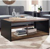 Walker Edison Steel Plate and Wood Coffee Table in Brown