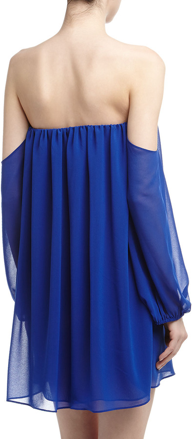 T-Bags T Bags Off-The-Shoulder Chiffon Shift Dress, Royal Blue