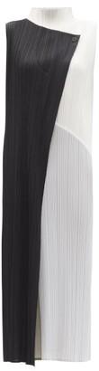 Pleats Please Issey Miyake Panelled High-neck Technical-pleated Midi Dress - Black White