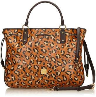 MCM Brown Animal Print Leather Tote Bag