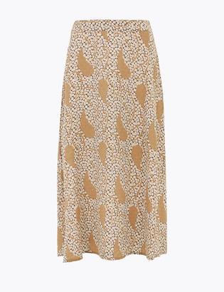 Marks and Spencer Floral Midi A-Line Skirt