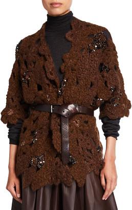 Brunello Cucinelli Paillette Embroidered Crochet Mohair-Blend Cardigan