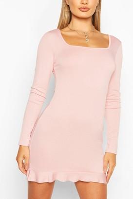 boohoo Square Neck Mini Dress With Frill Hem