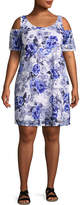 Robbie Bee Short Sleeve Floral Sheath Dress-Plus