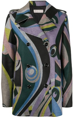 Emilio Pucci Geometric Print Double-Breasted Coat
