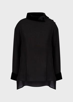 Emporio Armani Double Silk Georgette Blouse With Velvet Trims