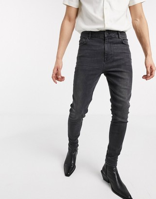 ASOS DESIGN high waisted skinny jean in washed black