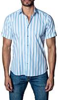 Jared Lang Woven Wide Stripe Short Sleeve Trim Fit Shirt