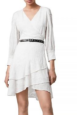 AllSaints Keva Palmer Embroidered Wrap Dress