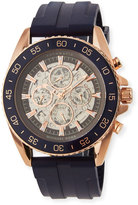 MICHAEL Michael Kors Jetmaster Automatic Skeleton Chronograph Watch w/ Rubber Strap, Rose Golden/Blue