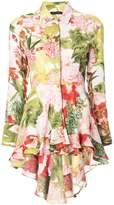 Josie Natori Paradise Floral high low shirt