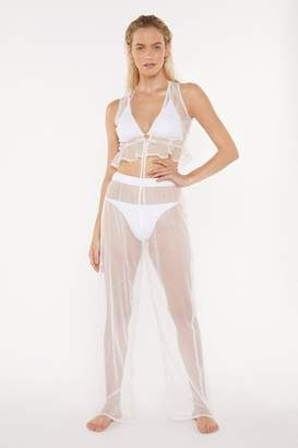 Nasty Gal Womens Wishing on a Star Studded Sheer Crop Top and Trousers Set - white - 10