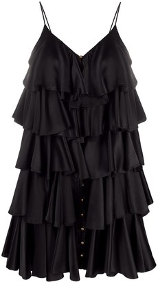 Balmain Ruffle Layered Strappy Dress