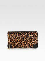 Christian Louboutin Loubiposh Leopard-Print Calf Hair & Leather Clutch