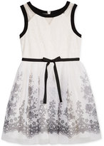 Sequin Hearts Floral-Print Lace Dress, Big Girls (7-16)