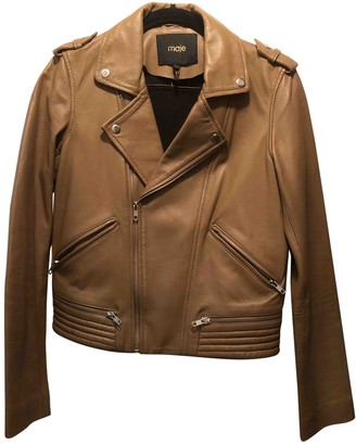 Maje Beige Leather Leather jackets
