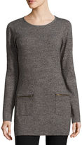 BY AND BY By&By Marl Zip Pocket Rib Tunic Scoop Neck Pullover Sweater-Juniors