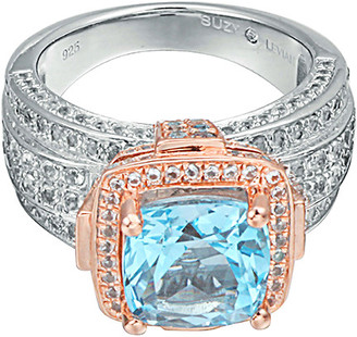 LeVian Suzy Diamonds Suzy Silver 6.46 Ct. Tw. Blue Topaz & White Topaz Ring