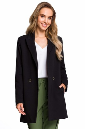 Moe   Made Of Emotion MOE - made of emotion Long Double Breasted Blazer - Black 38 | M