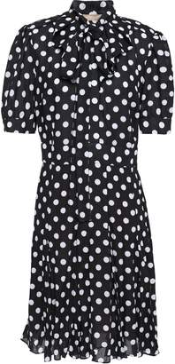 Michael Kors Pussy-bow Pleated Polka-dot Crepe Dress