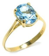 Tatitoto Superstar Women's Ring in 18k Gold with Blue Topaz, Size 4.5, 1.9 Grams