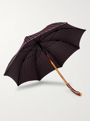 Francesco Maglia Striped Chestnut Wood-Handle Umbrella